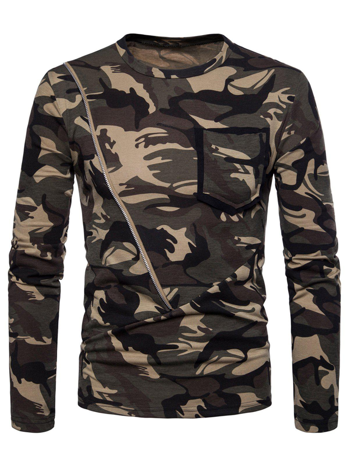 Zipper Pocket Design Camo Print Crew Neck T-shirt - ARMY GREEN 2XL