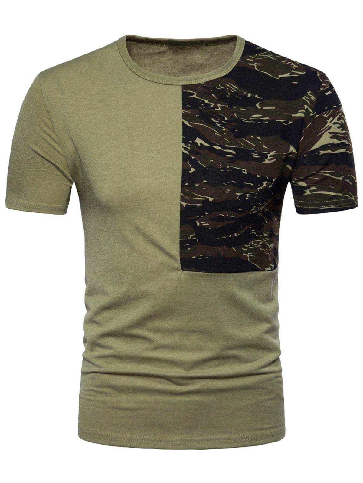 Camouflage Splicing Crew Neck T-shirt - ARMY GREEN L