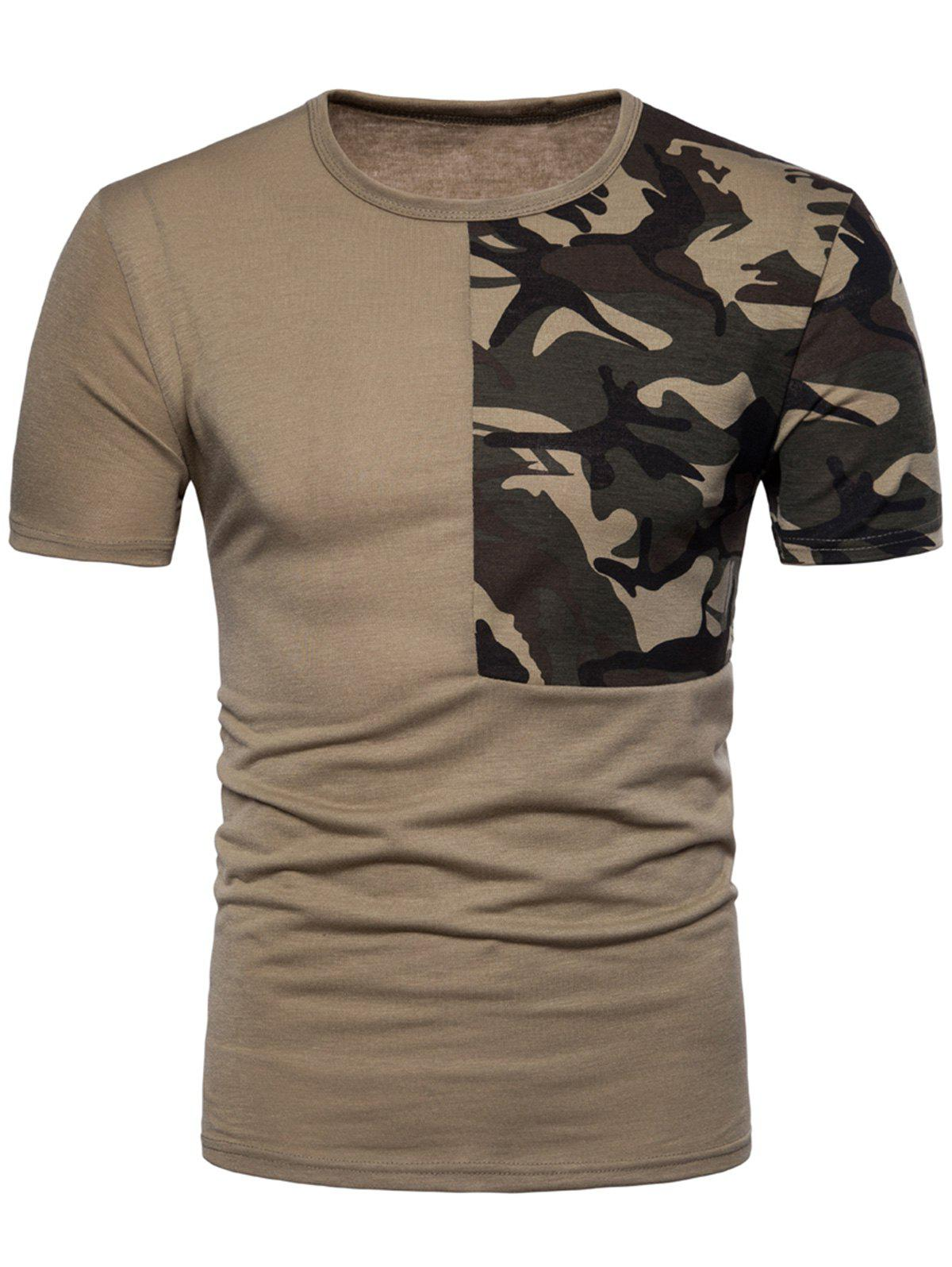 Camouflage Splicing Crew Neck T-shirt - DARK KHAKI 2XL