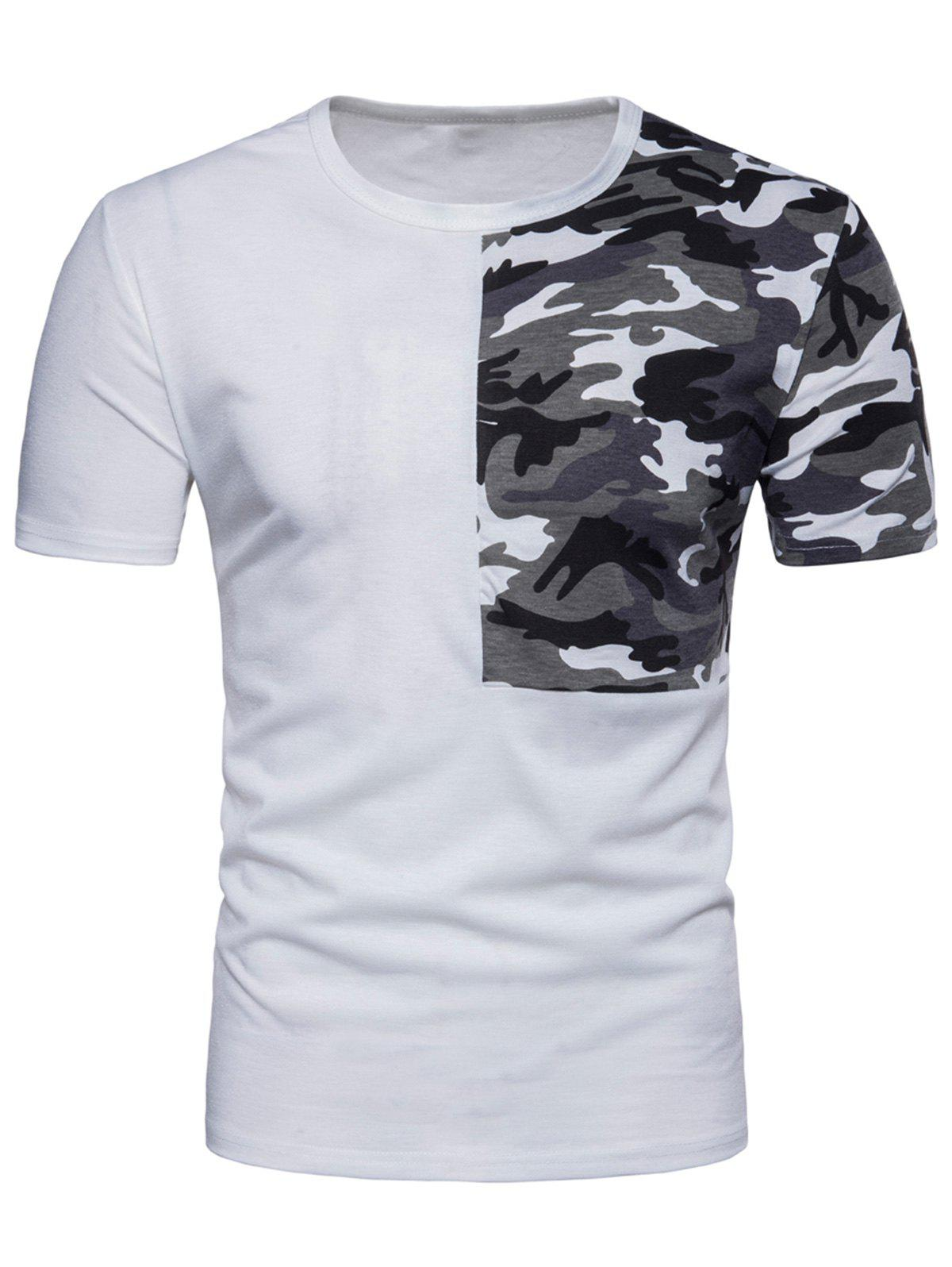 Camouflage Splicing Crew Neck T-shirt - WHITE XL