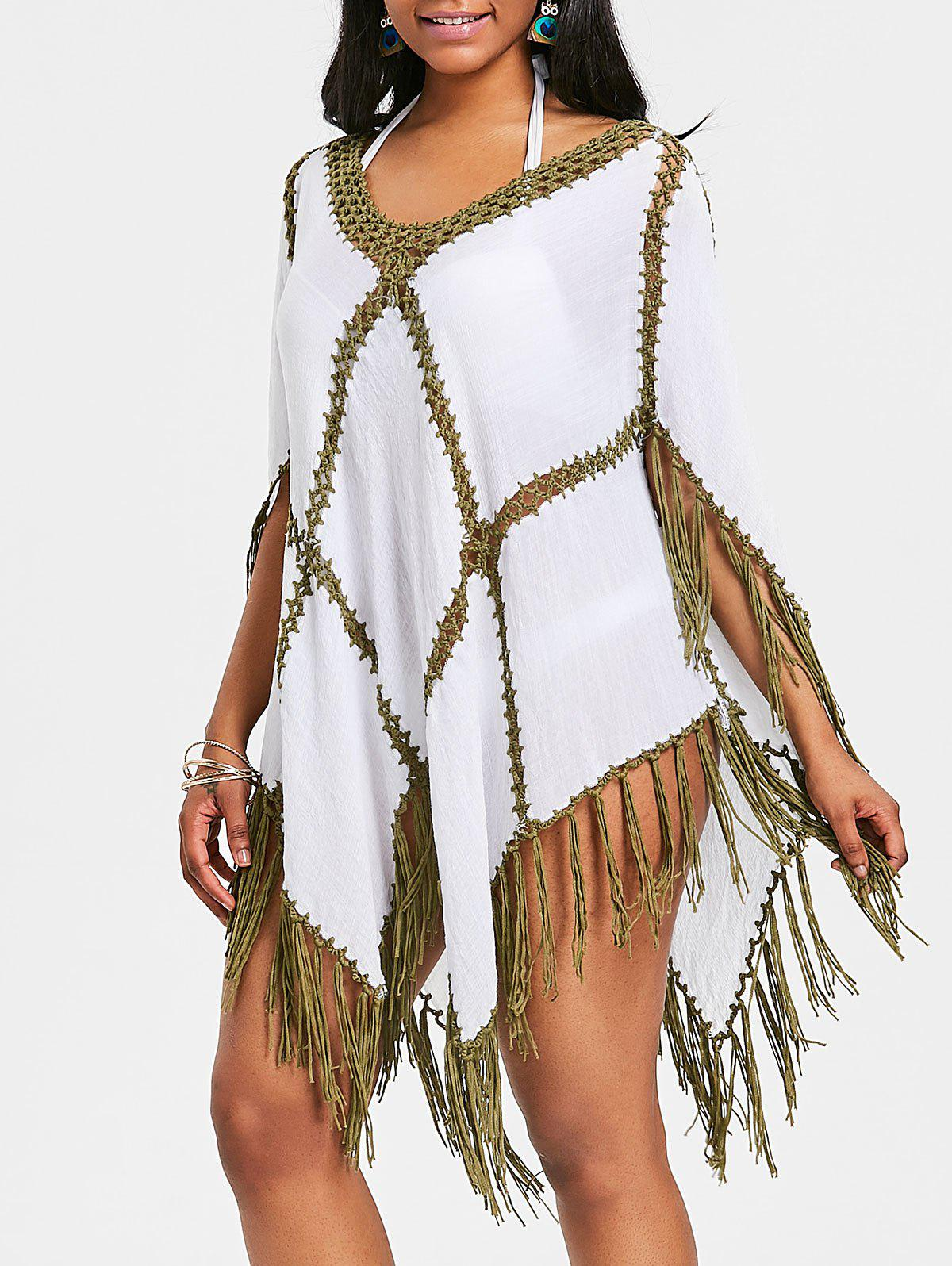 Crochet Panel Fringed Tunic Cover Up - VENOM GREEN ONE SIZE