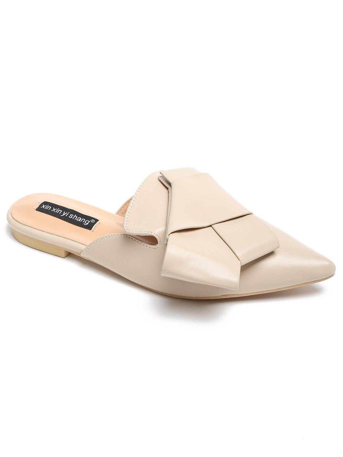 Faux Leather Slip On Casual Mules Shoes - APRICOT 40