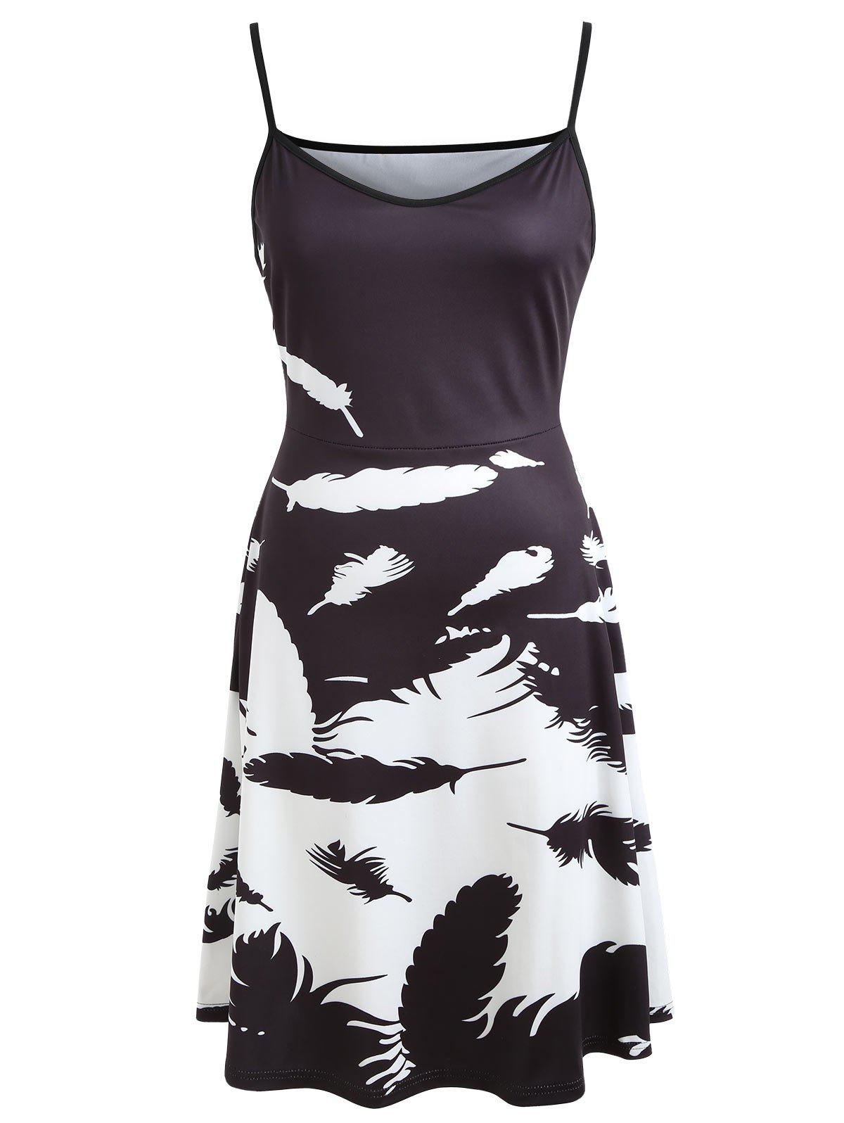 Feather Print V-neck Flare Dress - BLACK L