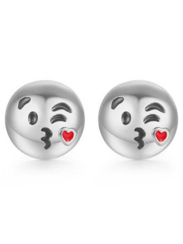 Metal Emoji Kiss Face Stud Earrings - SILVER