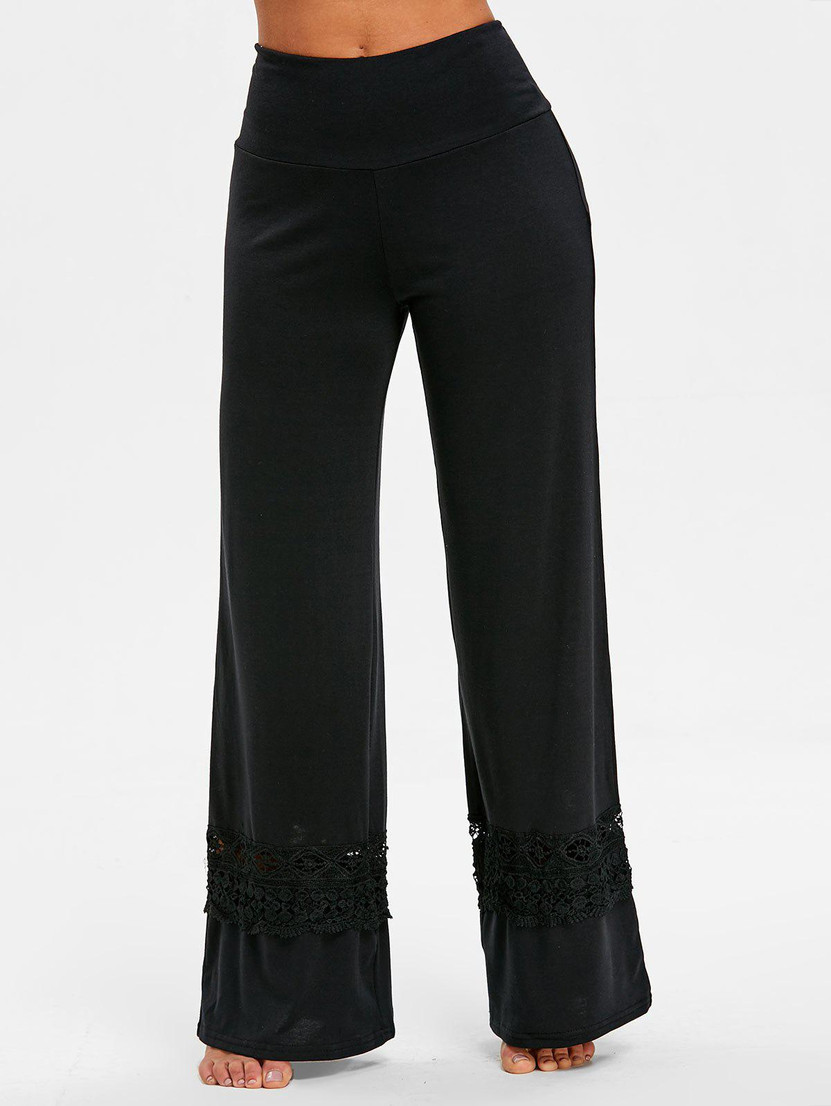 High Rise Lace Panel Palazzo Pants - BLACK L