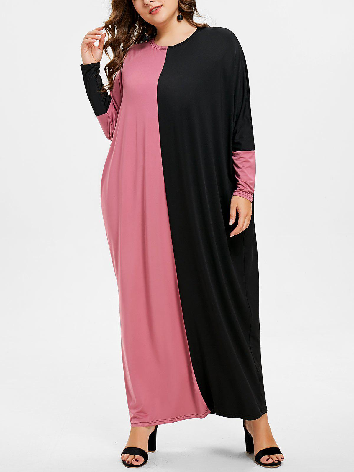 Plus Size Color Block Maxi Dress - ROSE RED ONE SIZE