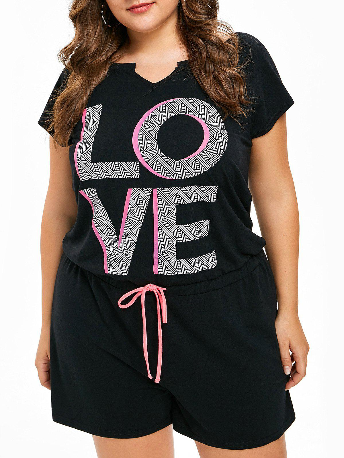 FRENCH BAZAAR Plus Size Love Print Cutout Back Waistline Romper - BLACK 1X