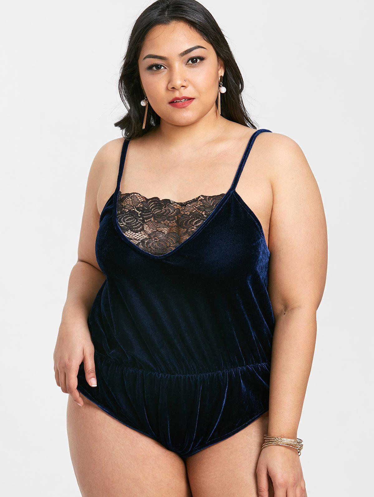 Plus Size Velvet Cami Bodysuit - NAVY BLUE 2X