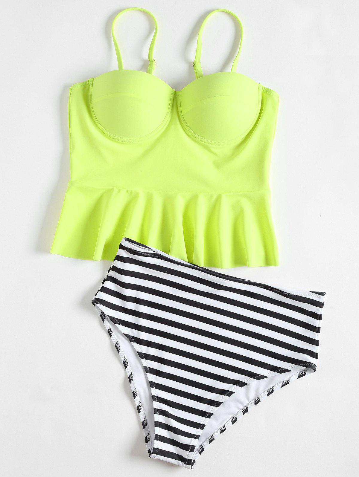 High Waisted Striped Peplum Tankini Set - YELLOW 2XL