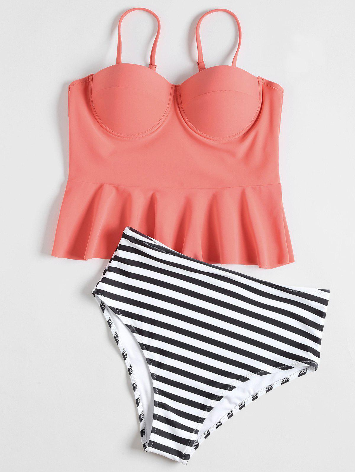 High Waisted Striped Peplum Tankini Set - CORAL S