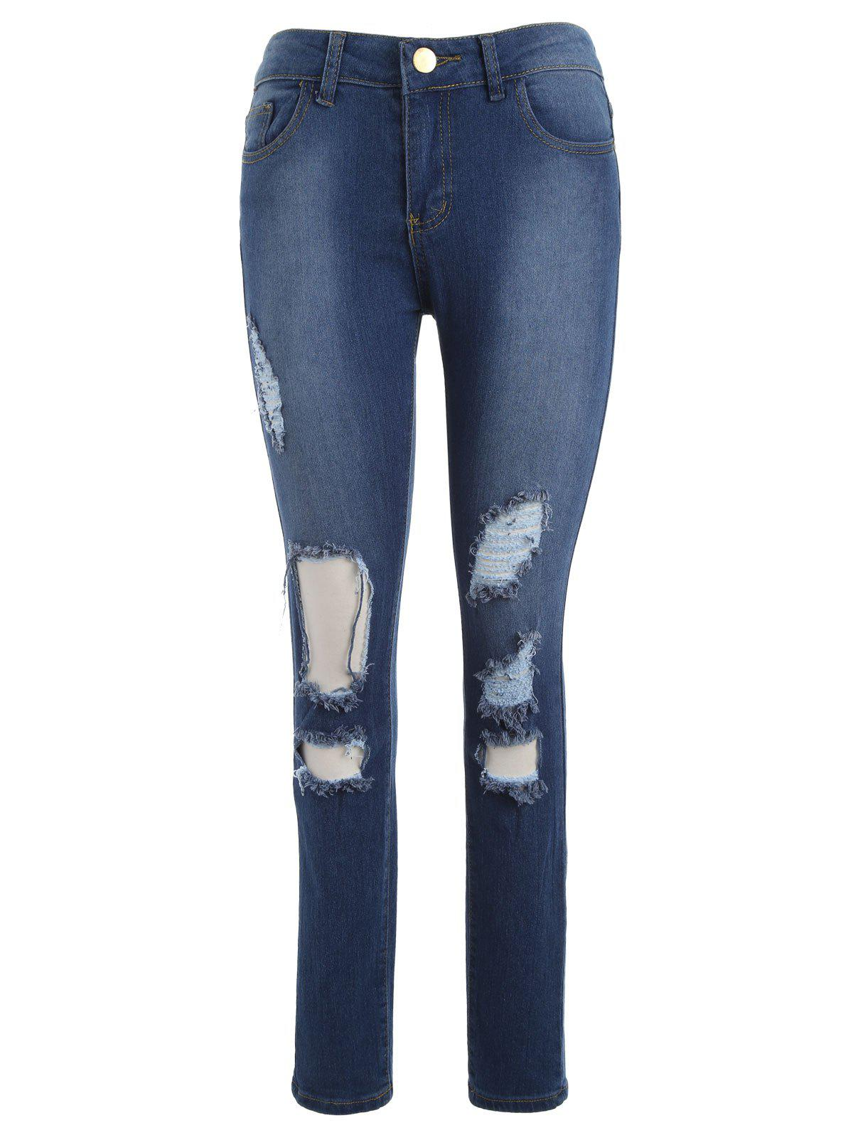 High Waisted Destroyed Ripped Skinny Jeans - BLUE XL