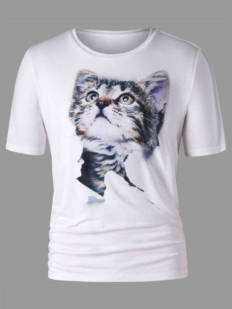 Crew Neck 3D Cat Print T-shirt - WHITE L