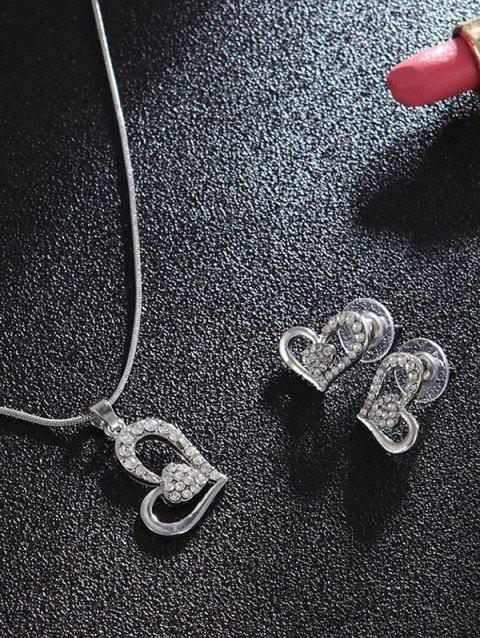 Heart Shaped Rhinestones Stud Earrings Drop Necklace Set - SILVER