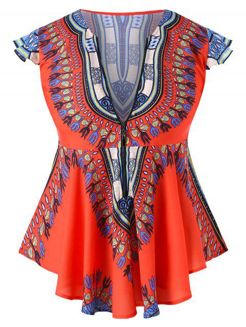 f0d9361a10 53% OFF  2019 African Traditional Dashiki Print Plus Size Top In ...