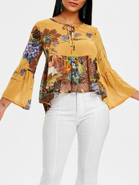Floral Print Flare Sleeve Peplum Top - YELLOW L