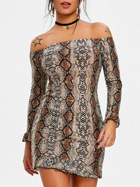 Leopard Print Off The Shoulder Bodycon Dress - DEEP BROWN S