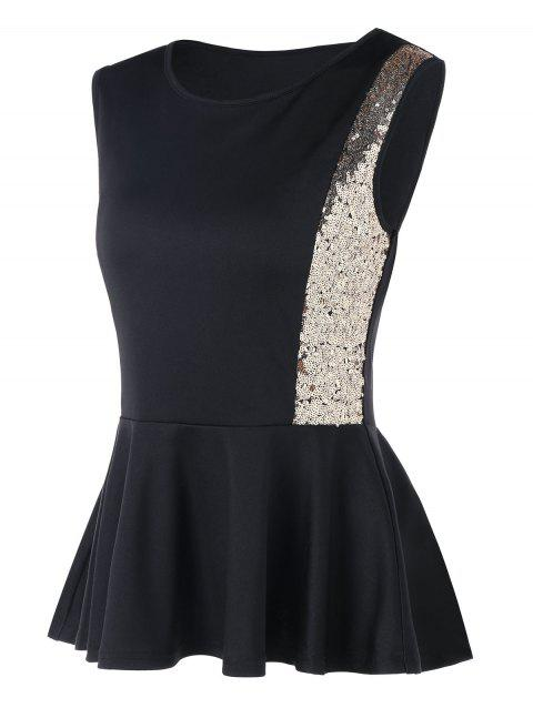 Sleeveless Sequined Peplum Blouse - BLACK L