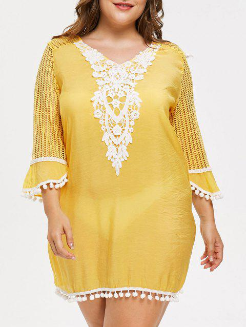 Plus Size Mesh Pom Cover Up - YELLOW L