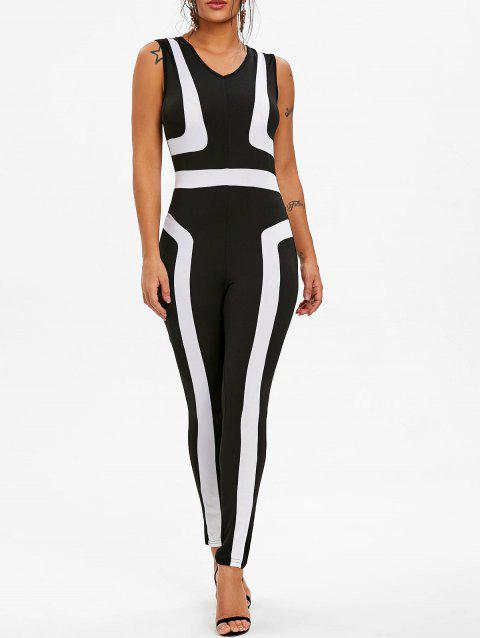 Color Block V Neck Jumpsuit - BLACK XL