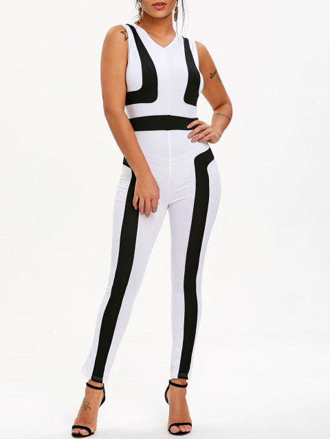 Color Block V Neck Jumpsuit - WHITE XL