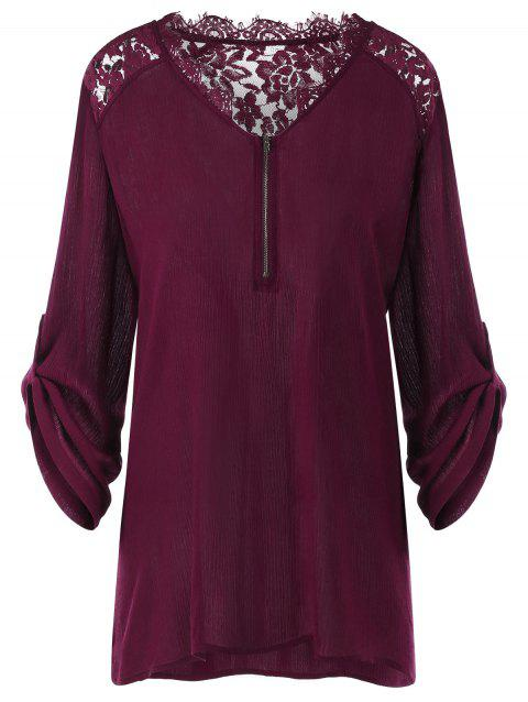 Plus Size Roll-up Sleeves Blouse - WINE RED 3XL