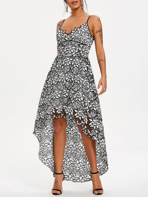 Spaghetti Strap High Low Lace Maxi Dress - WHITE/BLACK M