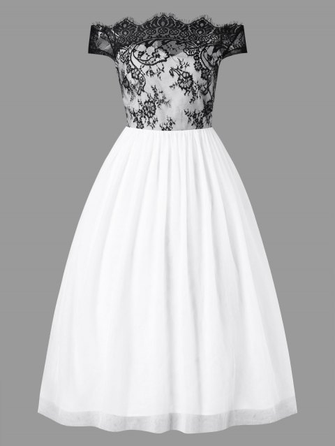 Lace Panel Ankle-length Formal Dress - WHITE M