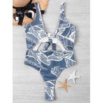 Bowknot Cut Out Leaf Print One Piece Swimwear - BLUE GRAY XL