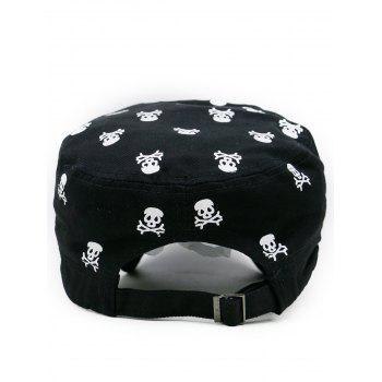 Skull Pattern Adjustable Flat Top Hat - BLACK