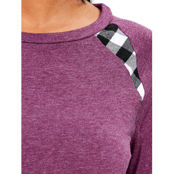 Raglan Sleeve Checked Tunic Tee - CHESTNUT RED S