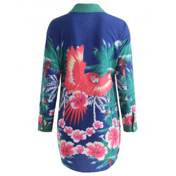 Tropical Print Tunic Shirt Dress - ROYAL BLUE XL