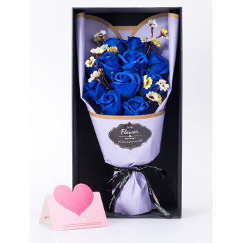 Mother's Day Gift Artificial Rose Soap Flowers Bouquet - BLUE ORCHID 38*20*12CM