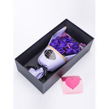 Mother's Day Gift Artificial Rose Soap Flowers Bouquet - PURPLE 38*20*12CM