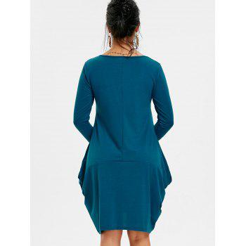 Long Sleeve Asymmetrical Baggy Dress - STEEL BLUE XL