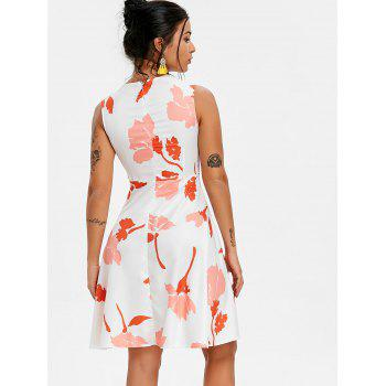 Floral High Low Flare Dress - WHITE S