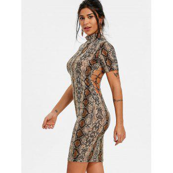 Snakeskin Print Short Sleeve Dress - multicolor L