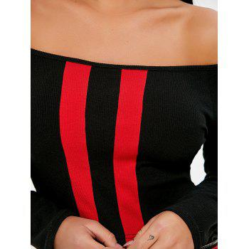Off The Shoulder Two Tone Crop Top - BLACK S