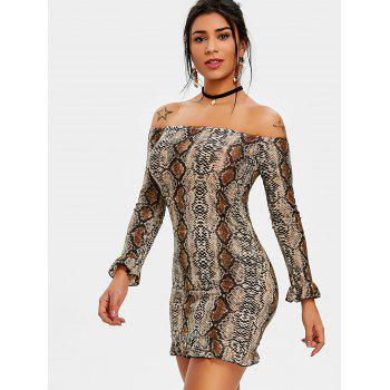 Leopard Print Off The Shoulder Bodycon Dress - DEEP BROWN M