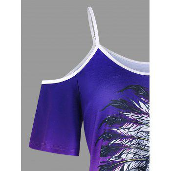 Ombre Print Indian Skull T-shirt - PURPLE 2XL