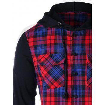 Flap Pockets Button Up Plaid Hoodie - RED M