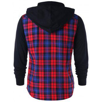 Flap Pockets Button Up Plaid Hoodie - RED XL
