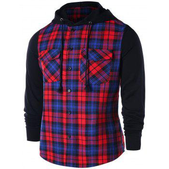 Flap Pockets Button Up Plaid Hoodie - RED 2XL