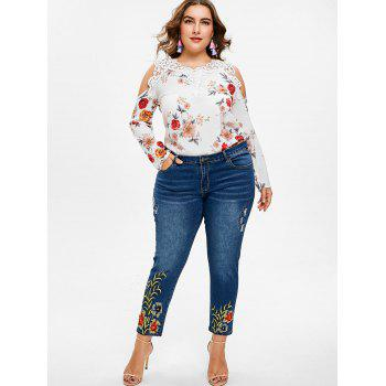 Plus Size Floral Print Open Shoulder Blouse - WHITE 4X