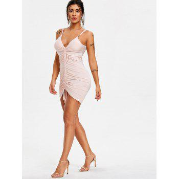 Ruched Front Plunge Bodycon Dress - PINK BUBBLEGUM L