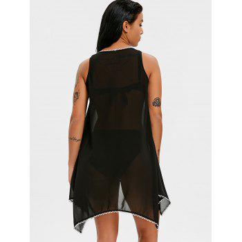 Fish Scale Brim Sleeveless Cover Up Top - BLACK L