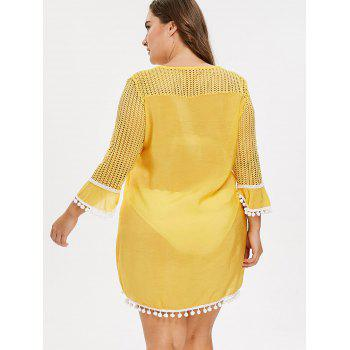 Plus Size Mesh Pom Cover Up - YELLOW 1X