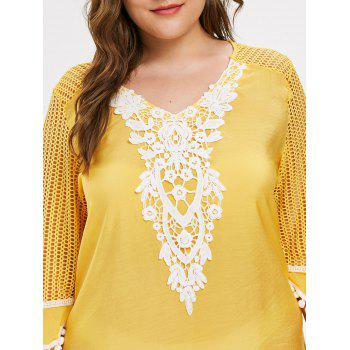 Plus Size Mesh Pom Cover Up - YELLOW 2X