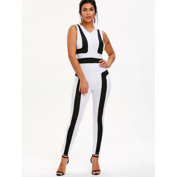 Color Block V Neck Jumpsuit - WHITE L