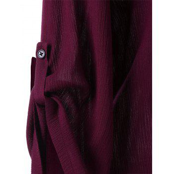 Plus Size Roll-up Sleeves Blouse - WINE RED XL