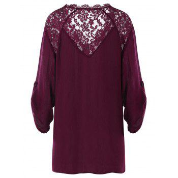 Plus Size Roll-up Sleeves Blouse - WINE RED 4XL